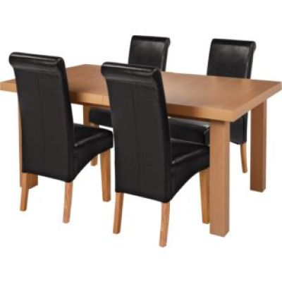 Dining table and 4 black leather chairs