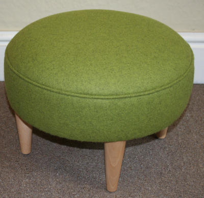 Round Lime Green Wool Footstool